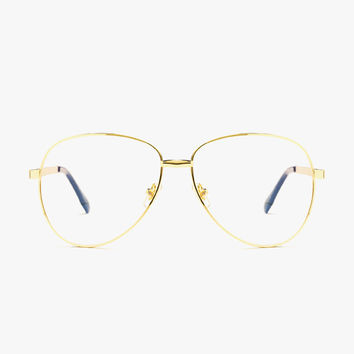 Oversized Gold Frame Clear Glasses