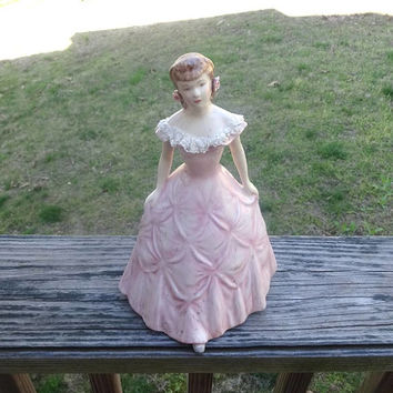1940s Kleine Co. Porcelain Figurine in Victorian Dress, 9 5/8 In. Tall, Pink Dress with Applied Lace, Vintage Ceramics, Figurines, Decor