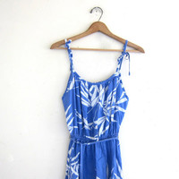 Vintage Women's light blue floral slip dress // midi sundress with tie straps