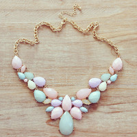 Cute Jewellery, Bib Necklace, Beaded necklace, Statement Necklace, Pastel necklace, Mother day gift, soft colors, beadwork, bridesmaids
