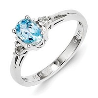Sterling Silver Diamond & Light Blue Topaz Ring
