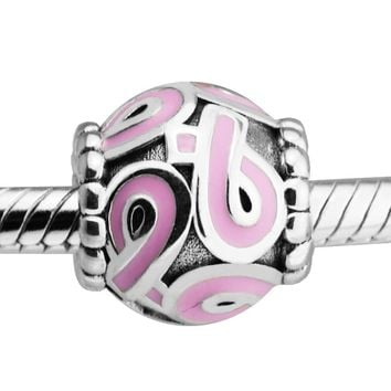 Fits for Pandora Bracelets Pink Ribbons Beads 100% 925 Sterling Silver Charms Jewelry Natural Stone Perlas BerloQue