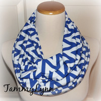 Royal Blue Wide Chevron Jersey Knit Infinity Scarf READY to SHIP Georgia State, Kentucky Wildcats, Memphis, Duke Game Day Jersey Knit Soft