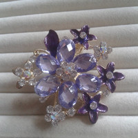 purple and light purple  crystal flower rhinestone goldtone  brooch  pin