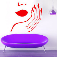 Wall Decals Vinyl Decal Sticker Fashion Girl Manicure Beauty Salon Decor KG770