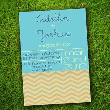 DIY Printable - Vintage Chevron Zigzag Stripes Aqua Blue Customizable Wedding Invitation Card