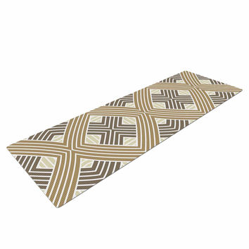 "Julia Grifol ""Brown Geometries"" Beige Geometric Yoga Mat"