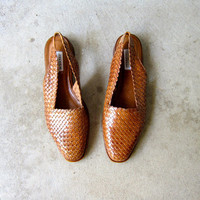Brown 90s Woven Leather Mules Slingback Sandals Chunky Low Heels Casual Slip Ons Slingback Sandals Minimal Vintage Womens 11 N