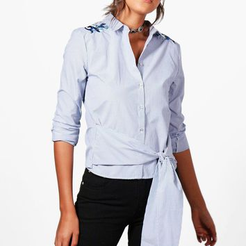 Tall Emily Embroidered Woven Shirt | Boohoo