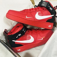 NIKE AIR FORCE 1 tide brand men and women models simple ow high-top shoes red