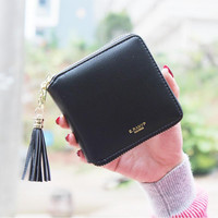 Women PU Leather Tassel Wallet Ladies Bronzing Clutch Card Holder
