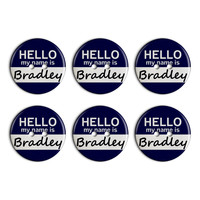 Bradley Hello My Name Is Plastic Resin Button Set of 6