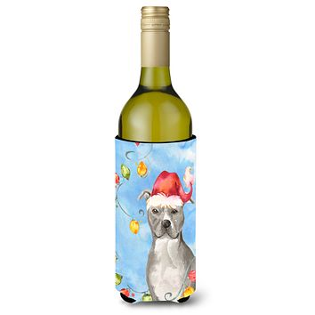 Christmas Lights Staffordshire Bull Terrier Wine Bottle Beverage Insulator Hugger CK2502LITERK