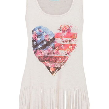 american flag graphic tank with fringe
