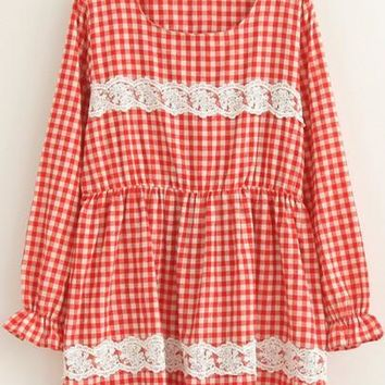 Streetstyle  Casual New Women Red Plaid Lace Long Sleeve Round Neck High Waisted Cute Mini Dress