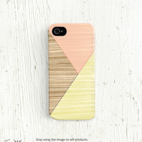 Wood print iPhone 5 case, Wood iPhone 4 case, Geometric  iPhone 4s case, Cute Pink Mint Peach lime Pastel Yellow iPhone 4 4s 5 case /106
