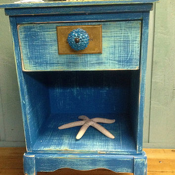 Side Night Table Cabinet Turquoise Reef Vintage Beach House Style by CastawaysHall - Ready to Ship