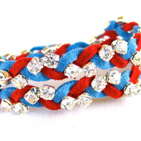 Infinity Rhinestone Bracelet Blue Red Faux Leather Wrap Bracelet Arm Candy