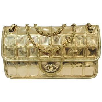 Chanel Limited Edition Gold Metallic Ice Cube Bag Serial 11888995