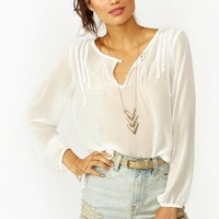Pleated Crochet Blouse