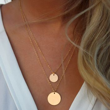 Layered Gold Disc Chain Necklace