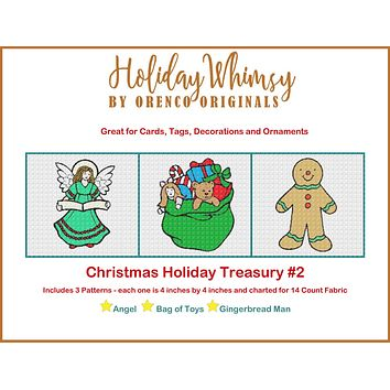 Christmas Holiday Treasury #2 Angel Toys and Gingerbread Man THREE Counted Cross Stitch Patterns