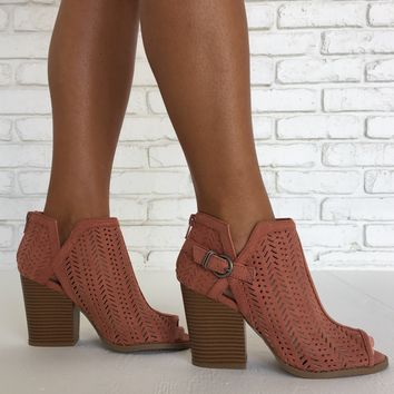 Move To The Beat Suede Booties in Mauve