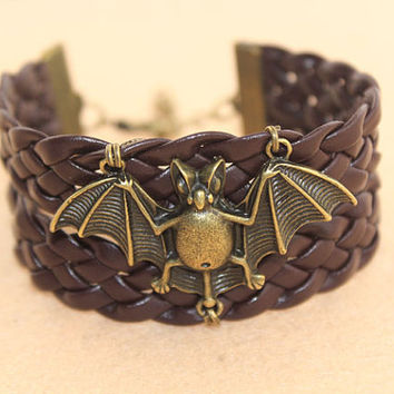 bracelet--bat bracelet,antique bronze charm bracelet,brown braid leather bracelet,friendship gift