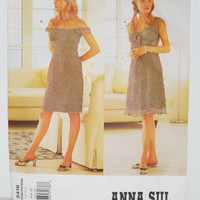 Vogue Anna Sui Pattern 2416 (c. 2000) Misses' Dress Size 6, 8, 10, Off The Shoulder, Above Knee Length, Spring/Summer Dress, Sewing Project