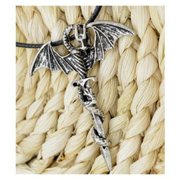 Men's Flying Dragon Sword Titanium Stainless Steel Pendant Necklace