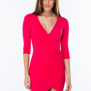 Wrap Genius Ruched Tulip Hem Dress GoJane.com