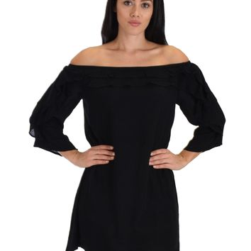 SL3468 3/4 Sleeve Shift Black Dress With Ruffled Layers