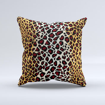 Vector Brown Leopard Print  Ink-Fuzed Decorative Throw Pillow