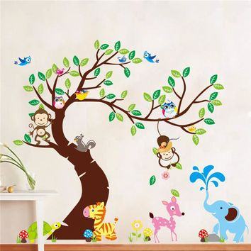 Tree And Monkey wall sticker children room background wall sticker ZYPA-1214 DIY decoration Nursery Daycare Baby Room Decor