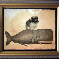 Lhasa Apso Riding Whale - Vintage Collage Art Print on Tea Stained Paper - Collage Art Print - Cotton Rag Paper