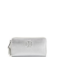 Thea Continental Zip Wallet, Silver - Tory Burch