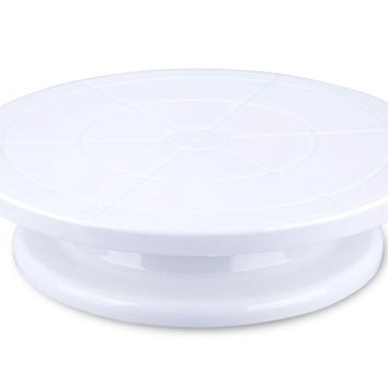 """Cake Decorating Turntable - Revolving Rotating Pastry Cupcake Decorative Round Display Stand Cake Tray - For Weddings, Holidays, Parties - 11"""" Diameter, White"""