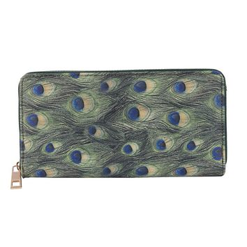 Peacock Feather Print Vinyl Clutch Wallet Bag Accessory 309