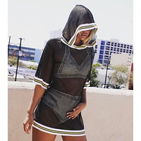 Women Temptation Perspective Gauze Stripe Middle Sleeve Loose Hooded Smock T-shirt Mini Dress