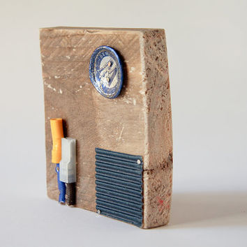 Found art assemblage on reclaimed wood ooak Christmas gift for him [T041]