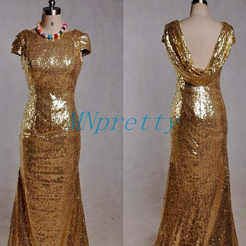 Unique Light Gold Sequined Prom Dresses,Swoop Back Evening Dresses,Short Sleeves Party Dresses,Homecoming Dresses,Bridesmaid Dresses