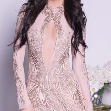 NOLAN DRESS IN NUDE WITH GOLD - MORE COLORS