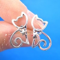 Kitty Cat Animal Outline Stud Earrings with Star Detail in Sterling Silver