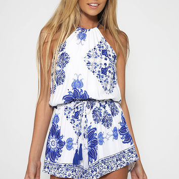 Elevator Love Playsuit - Blue Floral
