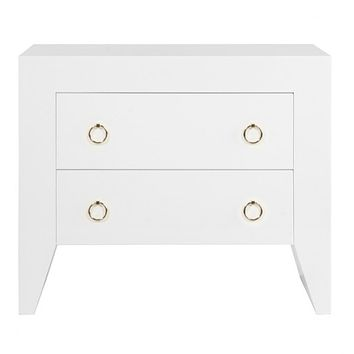 Worlds Away Easton White Lacquer Side Table