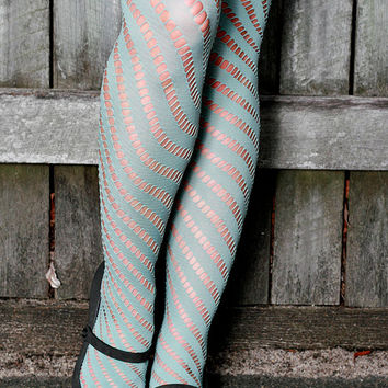 Chocolate Purple, Light Pink, Salmon, Green Teal Mint Blue Hand Dyed Diagonal Striped Nylon Tights Pantyhose