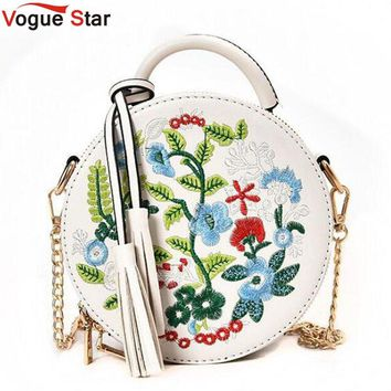 Retro Flower Embroidered Tassel Decorated Canister Style Purse