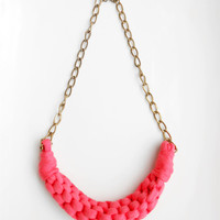 Pink Necklace, Coral Necklace, Cotton Necklace, Tshirt yarn necklace, Fiber Necklace, Womans Gift, Anniversary Gift Woman, Summer necklace