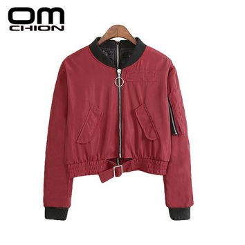 New Bomber Jacket Loose Casual Stand Long Sleeve Basic Jacket Solid Zipper Pockets Autumn Coat