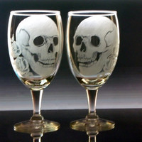 skull and rose glass goblets, engraved glassware set of two hand engraved stemware barware